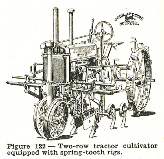 Two-row tractor cultivator