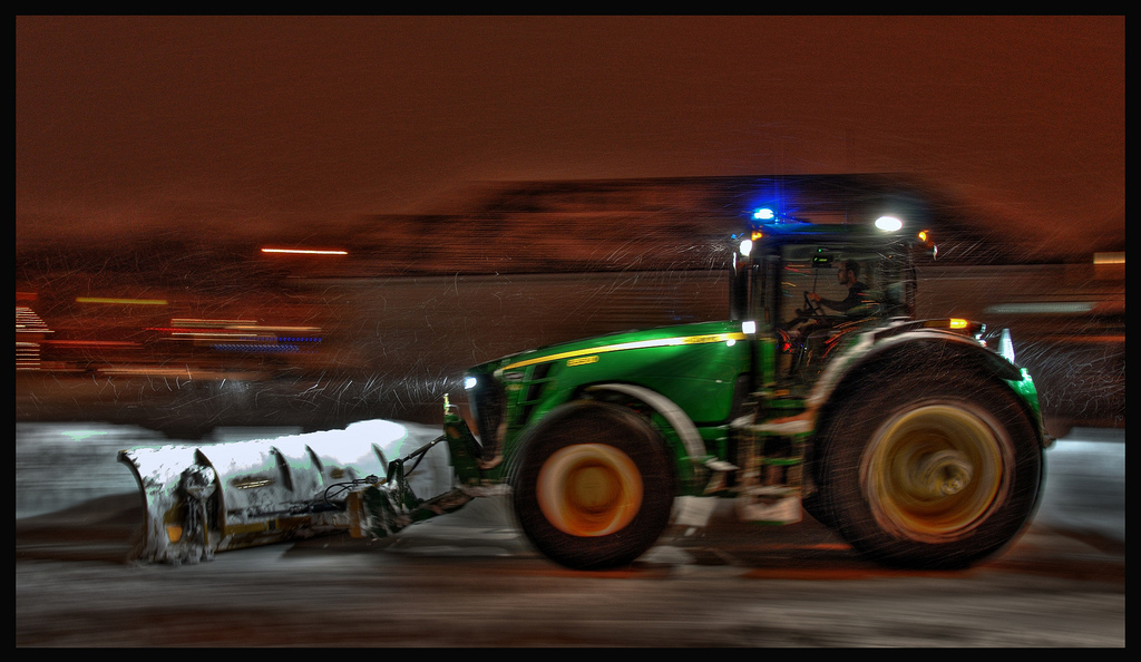 john deere in the snow