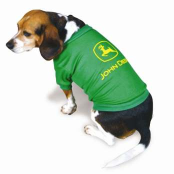 John Deere shirt on a dog