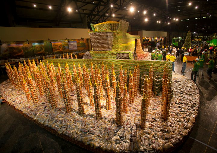 John Deere combine harvester made from can food