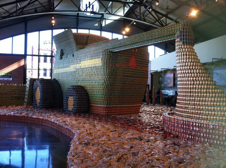 Over 300,000 cans of food replicate a John Deere S-Series Tractor