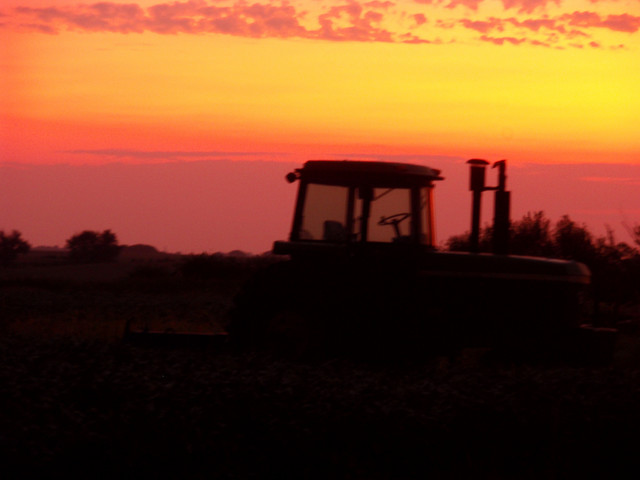 John Deere tractor photos at sunrise
