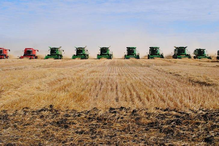 John Deere combines in the field