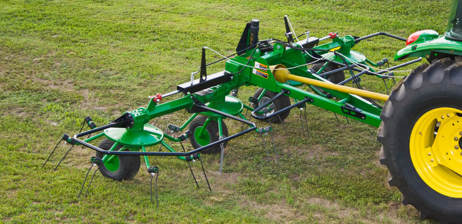 hey tedder 6 John Deere Tractor Attachments: From the Bale Unroller to the Box Blade