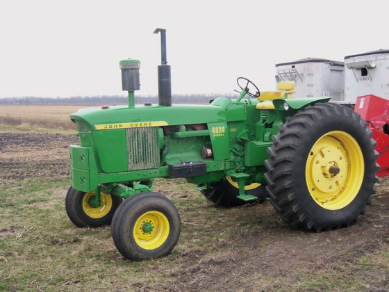 1971 JD 4020 diesel, console, power shift tractor with approx. 5,500 hours sold for $20,000 on a 1/11/13 farm estate auction in northwest Indiana