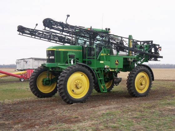 2004 JD 4710 sprayer with 2,126 hours sold for $112,000 on 1/11/13 farm auction in northwest Indiana