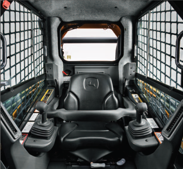 Inside the cab of the John Deere 332D Skid-Steer