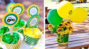 John Deere flower and balloons for a John Deere birthday party theme