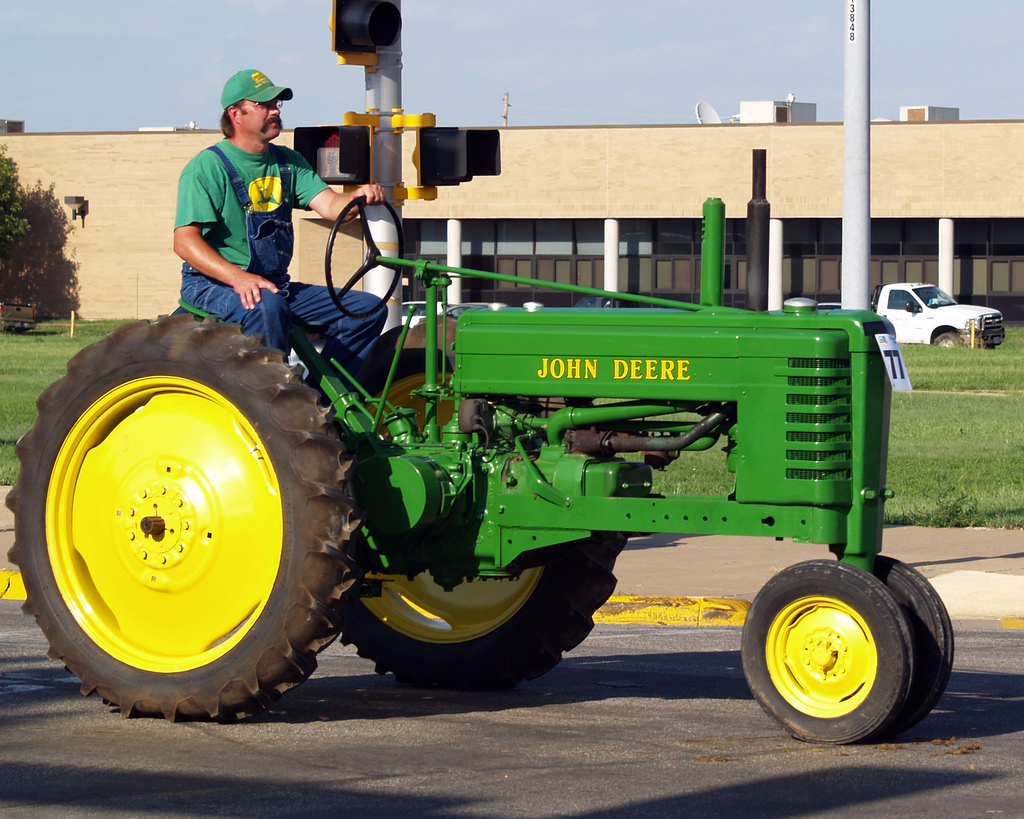 John Deere tractor with green paint