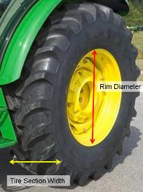John Deere tractor tire measurements