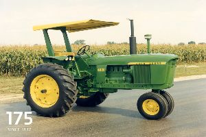 A John Deere 4020 diesel tractor was restored to serve as a centerpiece for the