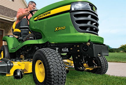 john deere x300 lawn tractor give yourself the power to mow. Black Bedroom Furniture Sets. Home Design Ideas