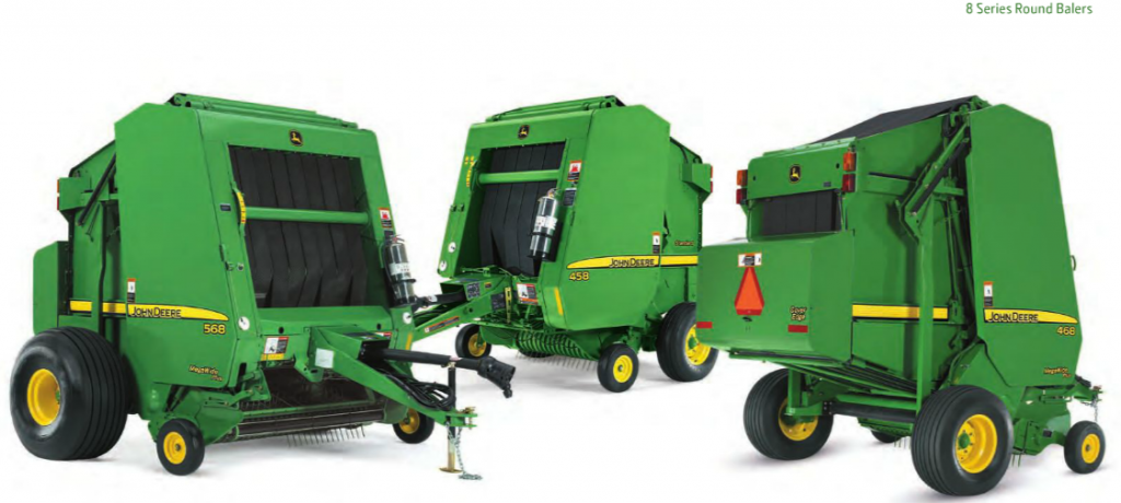 John Deere 568 part of 8 Series round balers