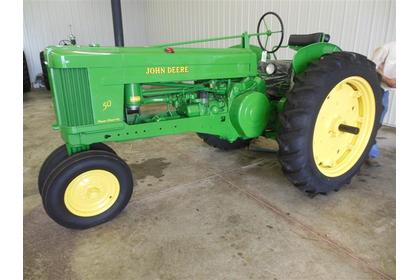 1955 JD 50 tractor sold for $11,000 on June 15, 2013 auction in Johnstown, OH