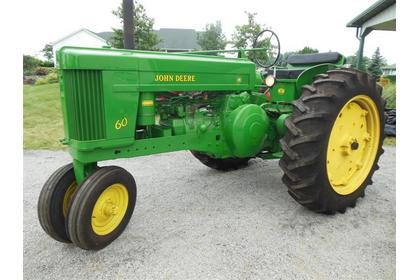 1953 JD 60 tractor sold for $15,000 on June 15, 2013 auction in Johnstown, OH