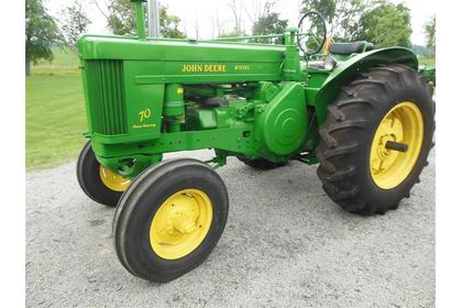 1955 JD 70 tractor sold for $13,250 on June 15, 2013 auction in Johnstown, OH