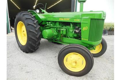 1955 JD 80 tractor sold for $13,000 on June 15, 2013 auction in Johnstown, OH