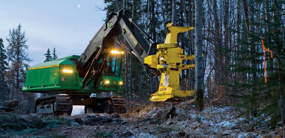 John Deere Forestry Harvester at Dusk