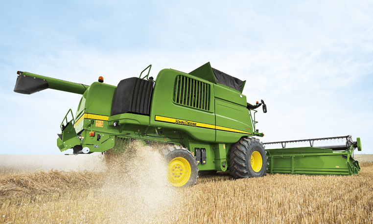 Combine Cutting Grain