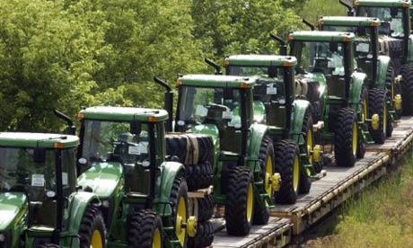 Line of John Deere Tractors