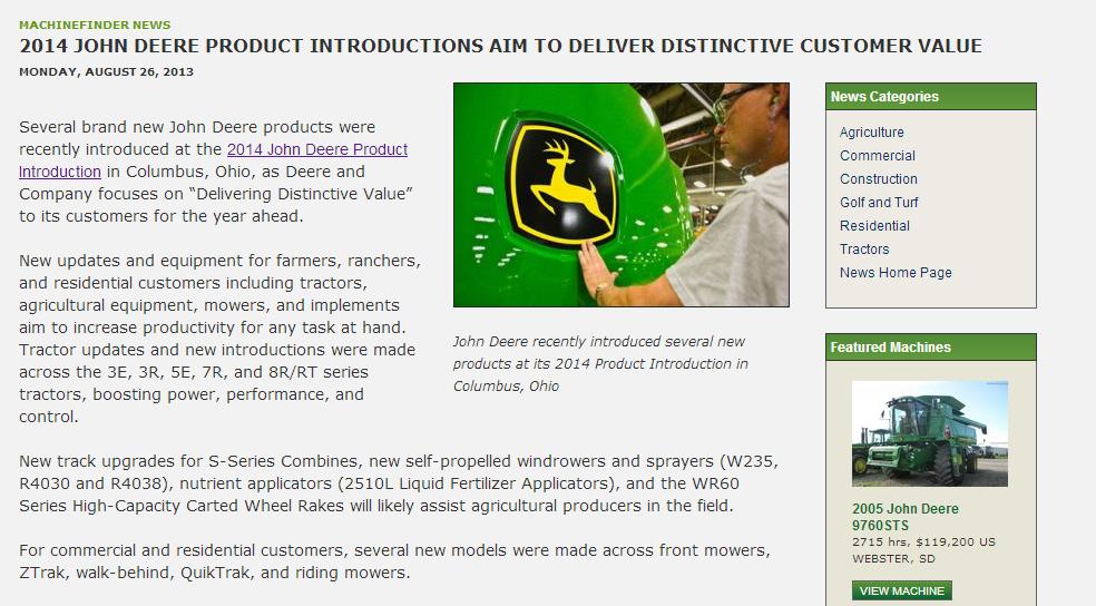 2014 John Deere Product Intro