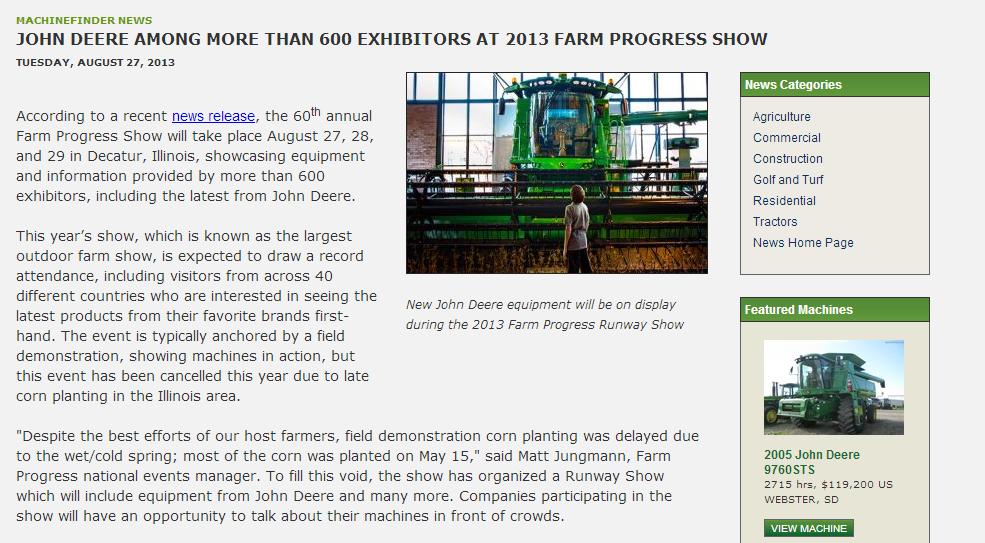 John Deere 2013 Farm Progress Show