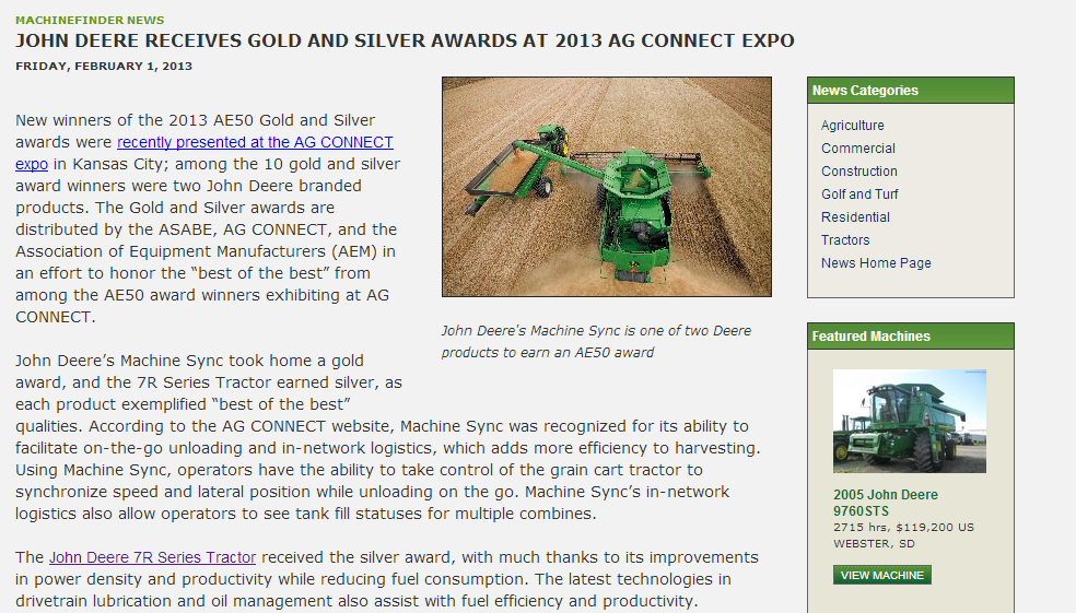 John Deere Receives Gold and Silver Awards