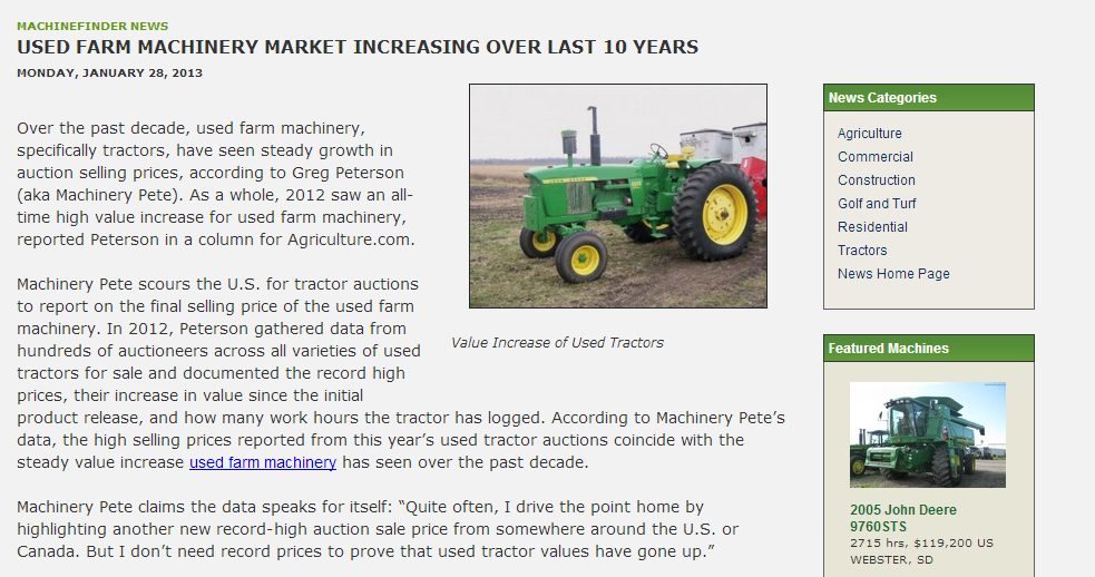 Used Farm Machinery Market Increasing