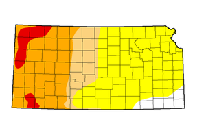 Drought-like conditions in Kansas worsen moving from east to west (Image credit: droughtmonitor.unl.edu)