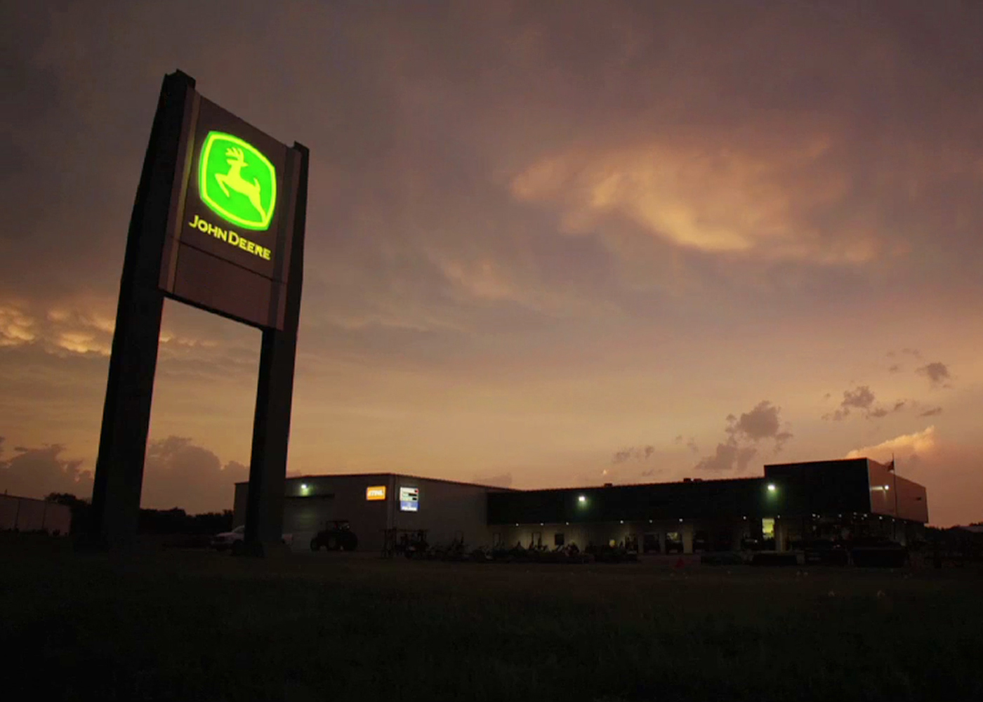 John Deere Dealership at Night