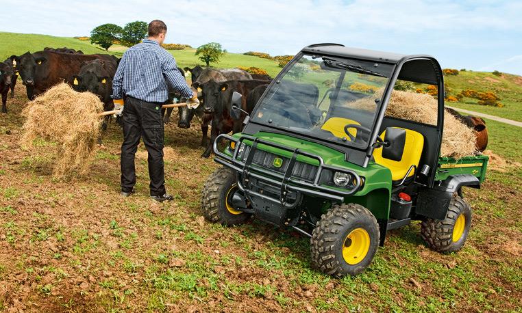 John Deere Gator with Hay Feeding Cattle