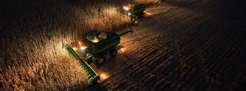 Combines at Night