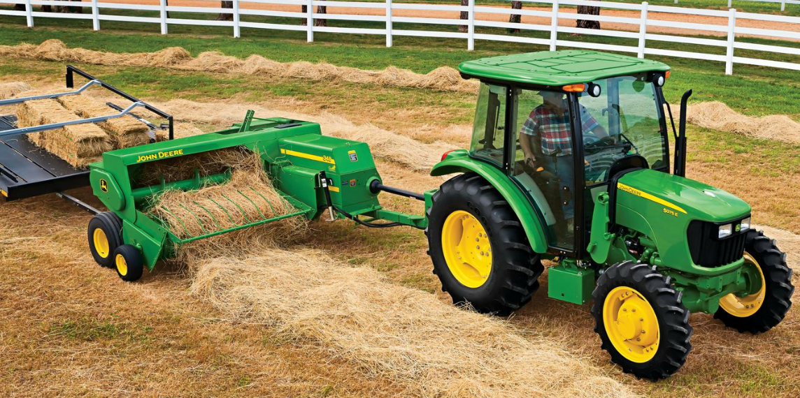 John Deere small square baler with hay