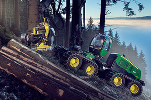 The eight-wheeled option of the 1270E Harvester adds stability and climbing ability.