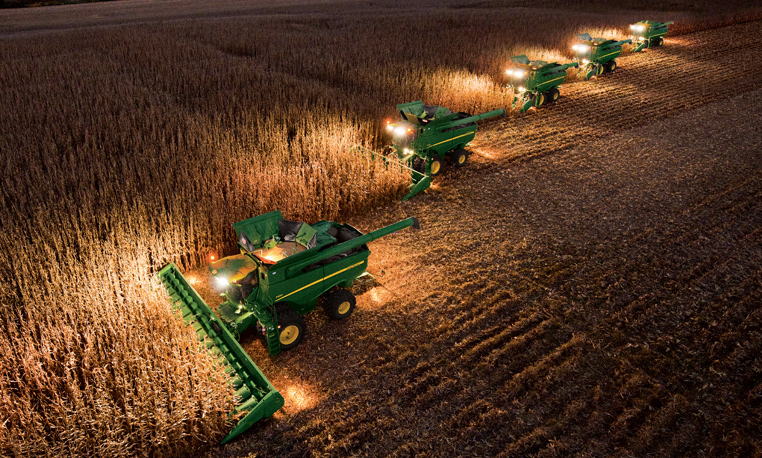Combines in Field with Headers