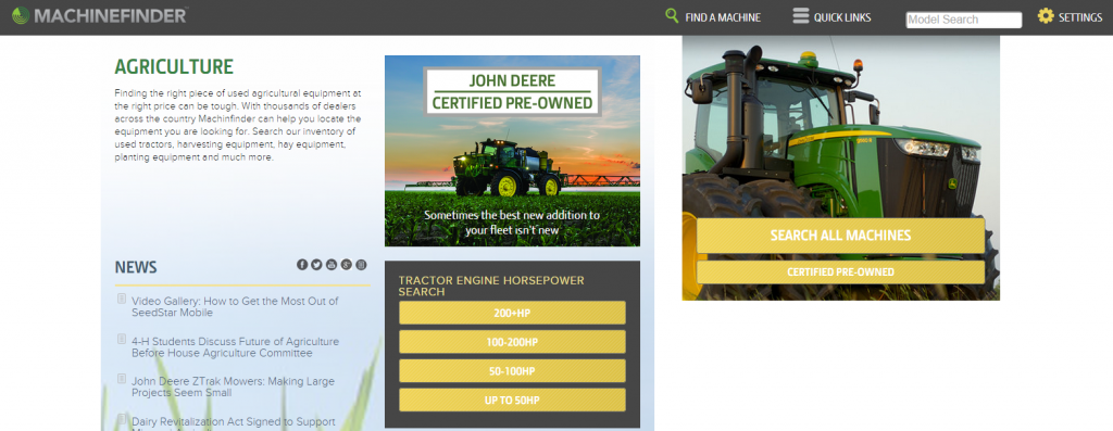 MachineFinder Agriculture Page