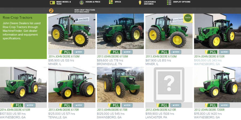 MachineFinder Row Crop Tractors Page