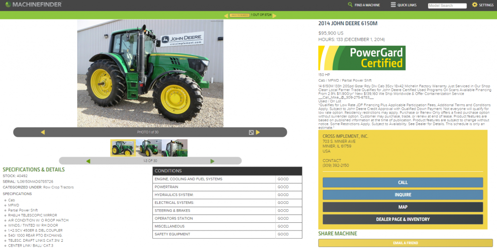 MachineFinder Tractor Listing