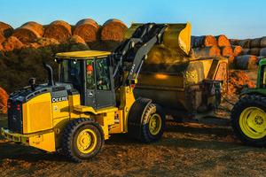 Each of Deere's three new wheel loader models boasts an EPA Final Tier 4 diesel engine.