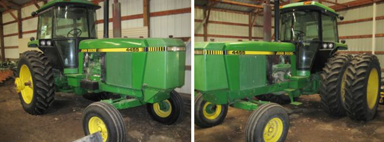 Two 1992 Deere 4455 2WD tractors