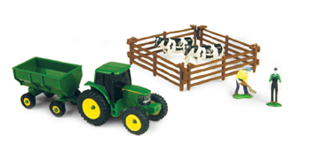 John Deere Farm Set with Wagon and Cows