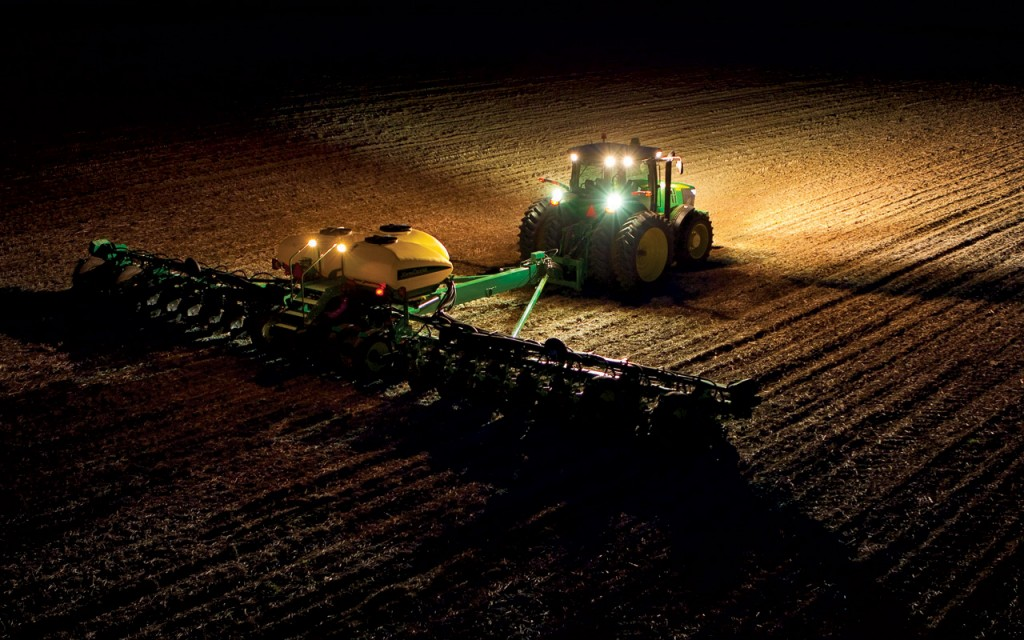 John Deere Tractor at Night