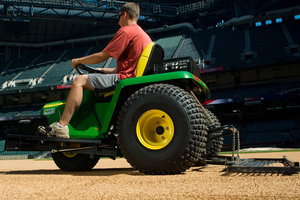 The Texas Rangers grounds crew will be using John Deere equipment to keep their playing surface at a professional level.