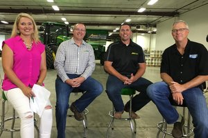 Tyne Morgan (host of U.S. Farm Report), Matt Raasch, Jon Carlo, and Greg Peterson (Machinery Pete), recently sat down for the filming of the