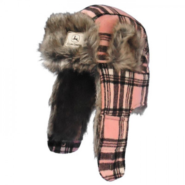 john-deere-womens-brown-and-pink-plaid-trapper-hat