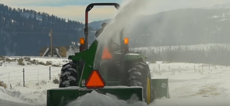 Tractor-Mounted Snow Blower