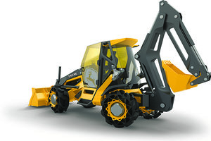 John Deere's backhoe of the future concept was on display at this year's CONEXPO-CON/AGG show and leverages lightweight metal and a hybrid powertrain.
