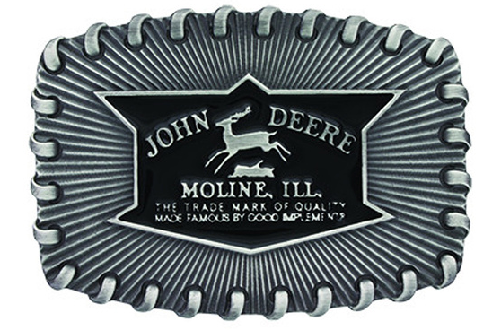 John Deere Silver Stitch Belt Buckle
