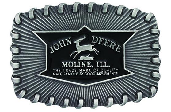 John Deere Silver Stitch Belt Buckle