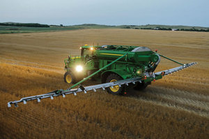 Operators can apply nutrients across a 70-foot area at up to 30 mph with the new AB485.